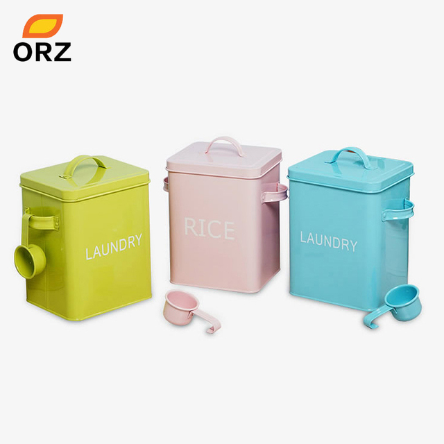 Orz Colorful Laundry Powder Box Storage Bin For Detergent Washing Pet Dog Cat Food Container