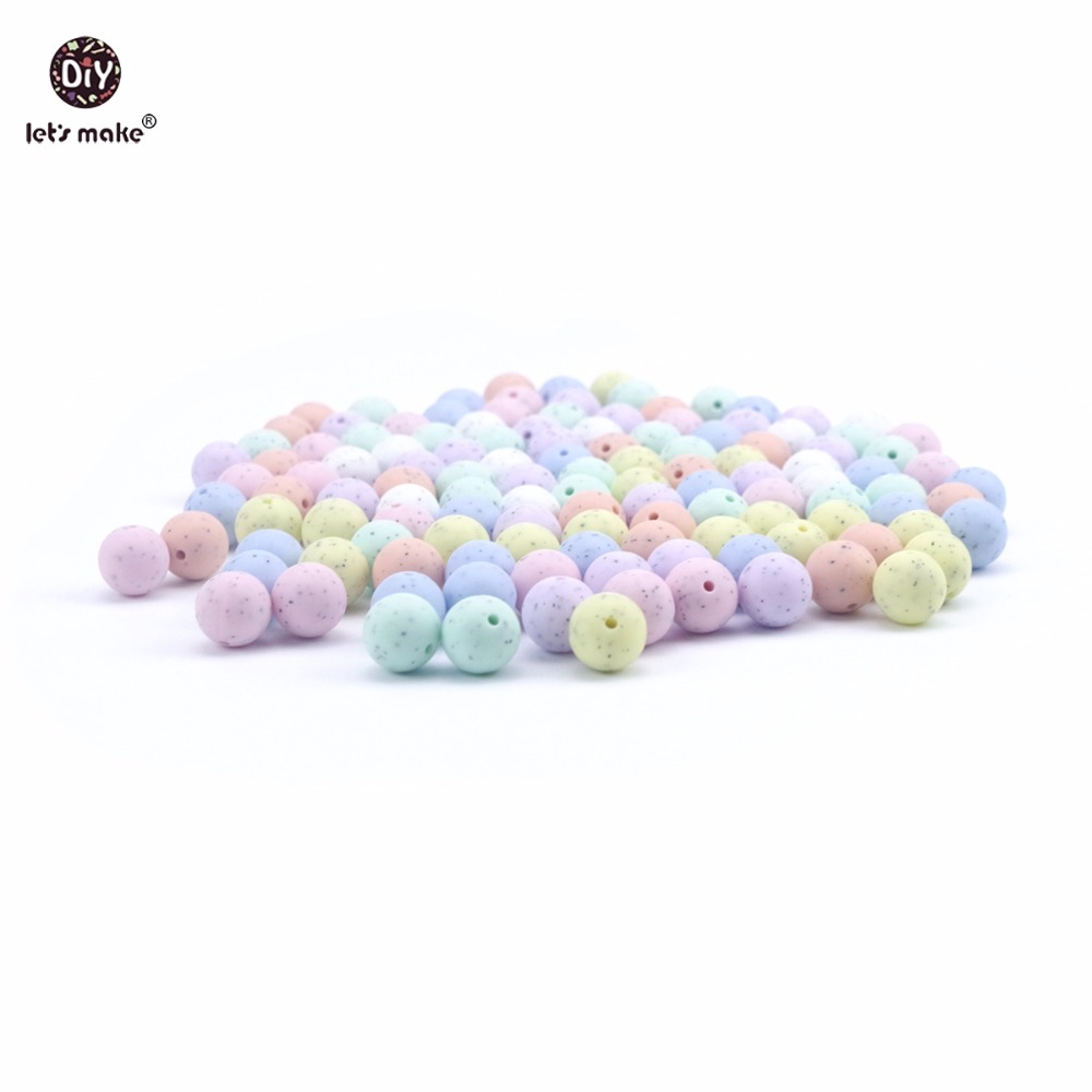 Let's Make Silicone Sesame Candy Colors Round Beads 50PC 15mm DIY Rattles Nursing Necklace Chewable Silicone Beads Baby Teether