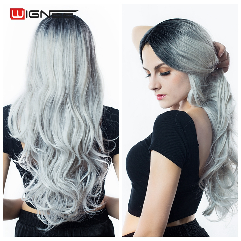 Wignee Long Hair Bølgete Parykker Høj Densitet Temperatur Schweizisk Lace Syntetiske Parykker Ombre Grå / Blonde / Brun Cosplay Hair For Women