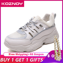 Koznoy Sneakers Women Mesh Breathable Dropshipping Thick Bottom Summer Reflection 2019 Fashion Leisure Lace Shoes