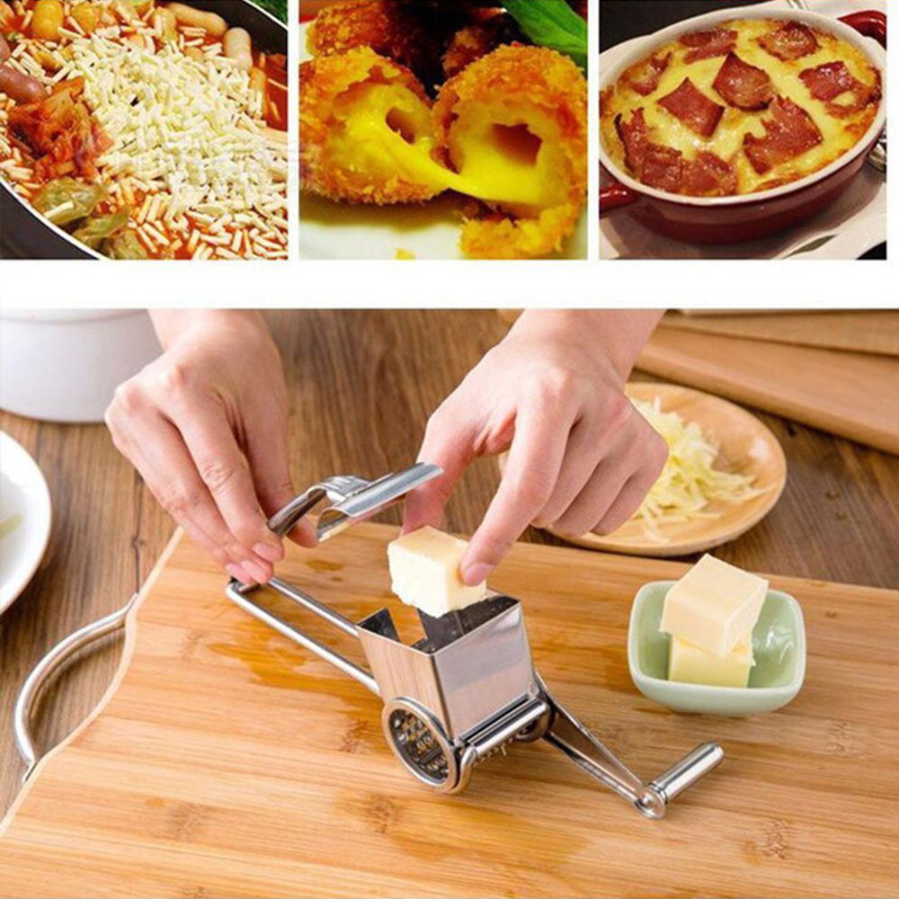 Stainless Steel Hand-Cranked <font><b>Cheese</b></font> <font><b>Grater</b></font> <font><b>Rotary</b></font> <font><b>Cheese</b></font> <font><b>Grater</b></font> Ginger Chocolate Cutter Creative Safety Kitchen Tool Accessories image