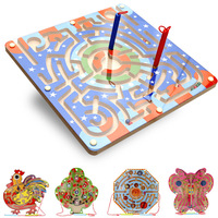 Creative wooden Magnetic beads pen maze puzzle board children's wooden toys.8 designs