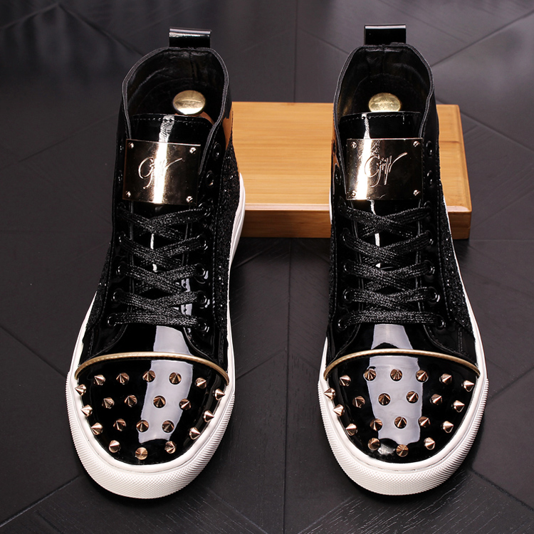 CuddlyIIPanda Men Fashion Punk Sneakers Metal Casual Platform High Top Shoes Flat Martin Boots Male Rivets Prom Shoes Zapatillas 18
