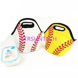 Image 1 - 50 шт./лот неопреновый белый мешок для еды с базовым шариком, желтая сумка тоут для ланча, сумка холодильник, командные аксессуары, переноска еды