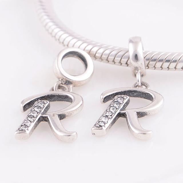 3b167719e Fits Pandora Charms Bracelet Necklace Authentic 925 Sterling Silver Beads  Alphabet Letter R Charm Pendant DIY