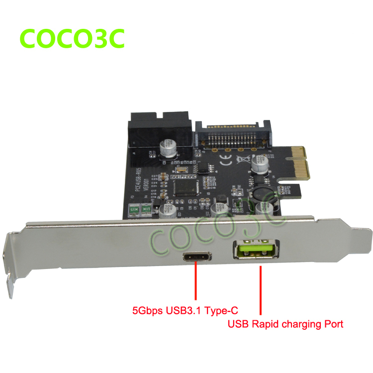 5Gb/s USB 3.1 Type-A + USB Rapid Changing Port +19pin USB header PCI-e Card Desktop PCI Express to USB3.1 Adapter