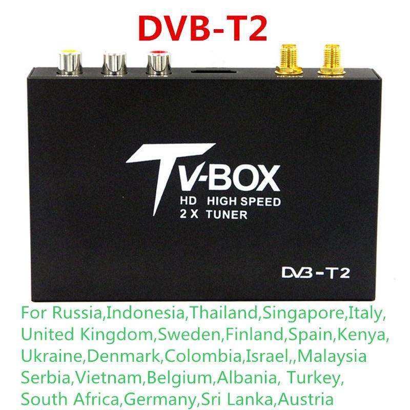 2-Tuners Voiture DVB-T2 H.264 MPEG-4 MPEG-2 Numérique TV Récepteur Box Pour La Russie Thaïlande Singapour Malaisie Israël L'ukraine Colombie