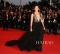 Camila Alves 2017 68o Festival de Cine de Cannes de la Alfombra Roja de Encaje Negro y Tul Cola Larga Vestidos de Baile Inspirado Celebrity