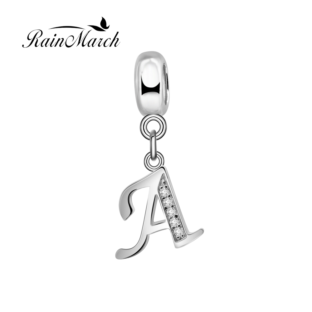 Original 925 sterling silver alphabet charms A with clear cubic zirconia stone Fits for Pandora Bracelets SR2657 wholesale