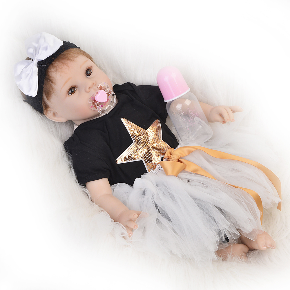 New Arrival 22 Realistic Reborn Dolls Soft Silicone Vinyl Newborn Doll 55cm Fashion Princess Babies Toy For Girl Kid Xmas Gift