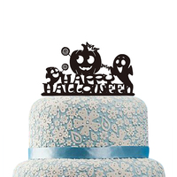 Happy Halloween Cake Topper Cartoon Pumpkin Cake Topper with Lollipop Acrylic Monogram Cake Top Kids Gifts Halloween Party Decor