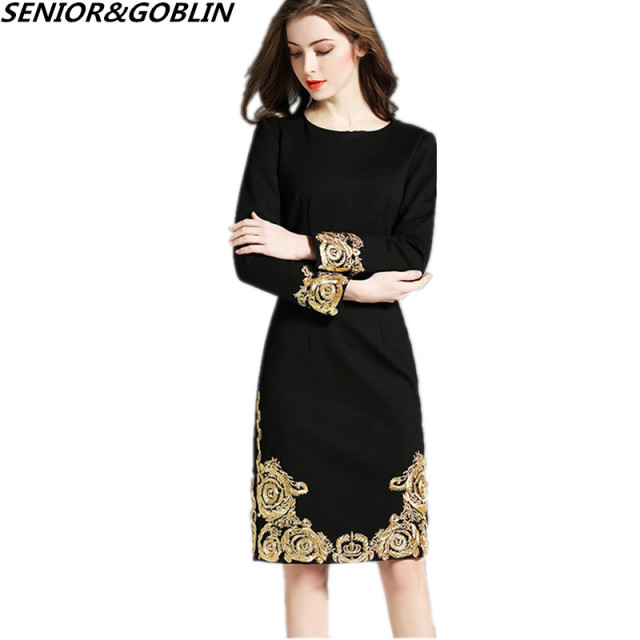 64cc000b547 Newest 2018 High Quality Spring Plus Size Black Dress Women Runway Gold Embroidery  Long Sleeve Elegant Midi Party Dress Vestidos