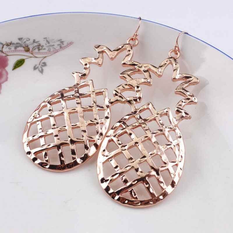 2018 Fashion Gold Cutout Hollow Big Pineapple Drop Earrings New Fall Winter Women Girls Party Statement Jewelry Gift Accessories