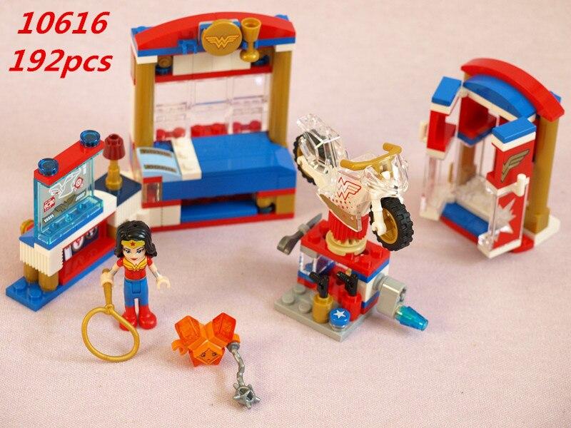 10616 192Pcs Girl Series Super Hero Power woman's dormitory Building Blocks Kids DIY Bricks Toys for Children Gifts 41235 конструктор bela super hero girls дом чудо женщины 192 дет 10616