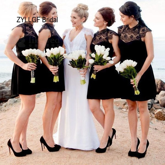 6ebe71db8b06 ZYLLGF Bridal Factory Made A-line Short Black Bridesmaid Dress Cheap Formal  Dress Bridesmaids For