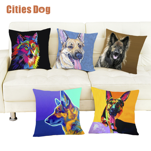 Dog Pillows Covers Pug Cushion Cover Pillow German Shepherd Dog Cool Decorative Pillows Dogs