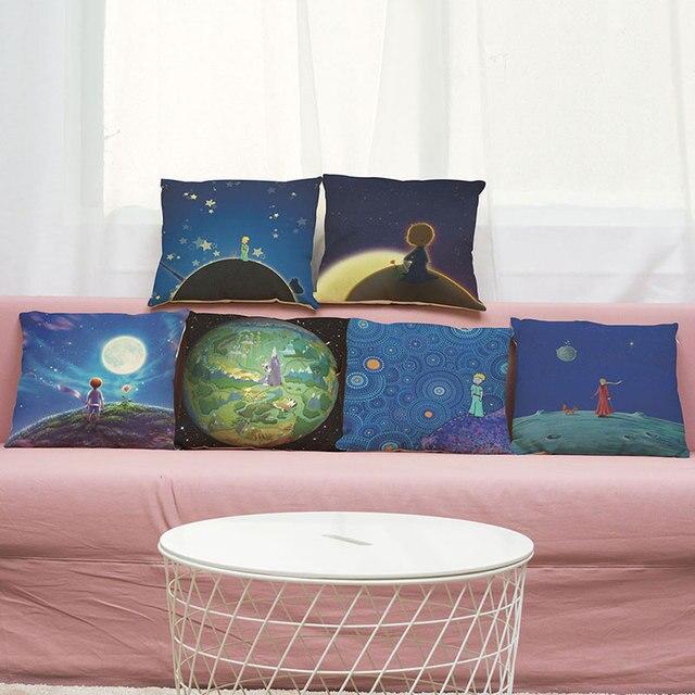 45cm*45cm Cushion Cover Anime Little Prince Design Linen/cotton Sofa Pillow  Case Home
