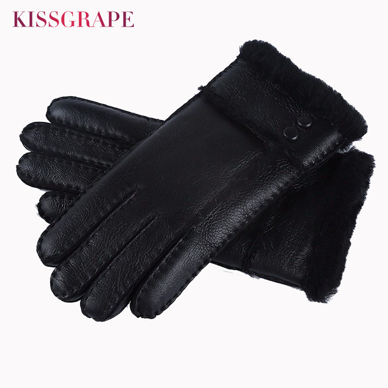 Women Winter Warm Genuine Leather <font><b>Gloves</b></font> for Women Sheepskin Fur Australia Woolen <font><b>Gloves</b></font> Ladies Mittens Female Waterproof <font><b>Gloves</b></font>