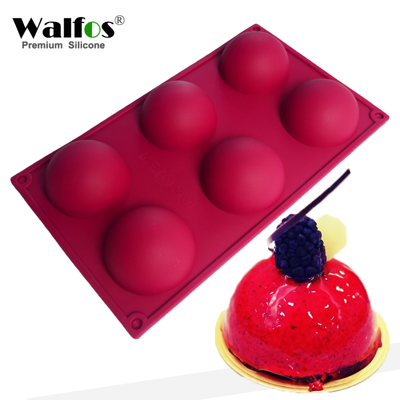 WALFOS food grade 6 Cavity Silicone Cake Mold non-stick baking pan Pastry Tools for Soap, Muffin, Brownie, Pudding and Jello