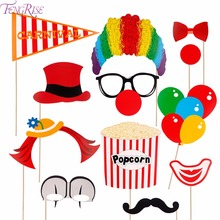 FENGRISE 12pcs Clown Photobooth Props Funny Circus Mask Carnival Party Decor Birthday Street Supplies