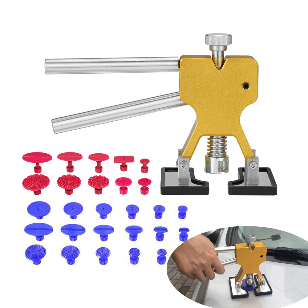 Paintless Dent Puller Removal Repair Tools Kit Gold Car Suction Cup with 28pcs Glue Tabs Auto Remover