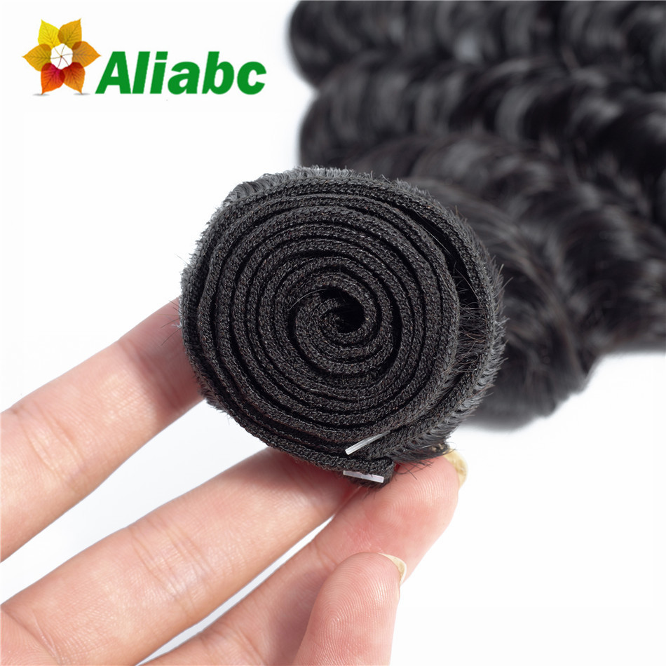 Aliabc Brazilian Deep Wave Human Hair Weave 3 Bundles With 4X4 Lace Closure Natural Color Non remy Hair Extensions Free Shipping-in 3/4 Bundles with Closure from Hair Extensions & Wigs    3