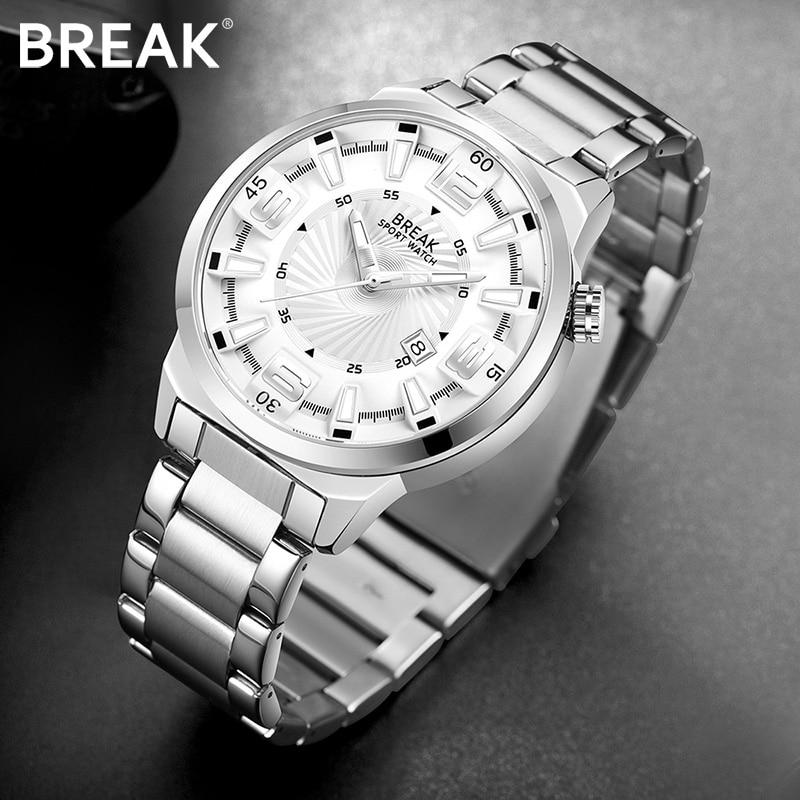 BREAK Men Top Luxury Brand Watch Unique Fashion Casual Calendar Japan Quartz Sports Wristwatch Creative Gift Dress Watches