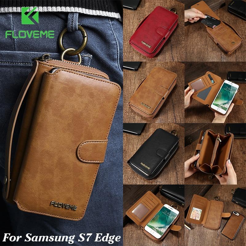 Floveme кожаный чехол для Samsung S7 Edge люкс Ретро Съемная 2 в 1 флип держателя карты Бумажник Обложка для Samsung galaxy S7 Edge