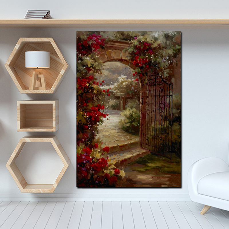 Abstract Pastoral House Flowers Door Landscape Oil Painting HD Print on Canvas Garden Poster Wall Art Picture for Livinng Room