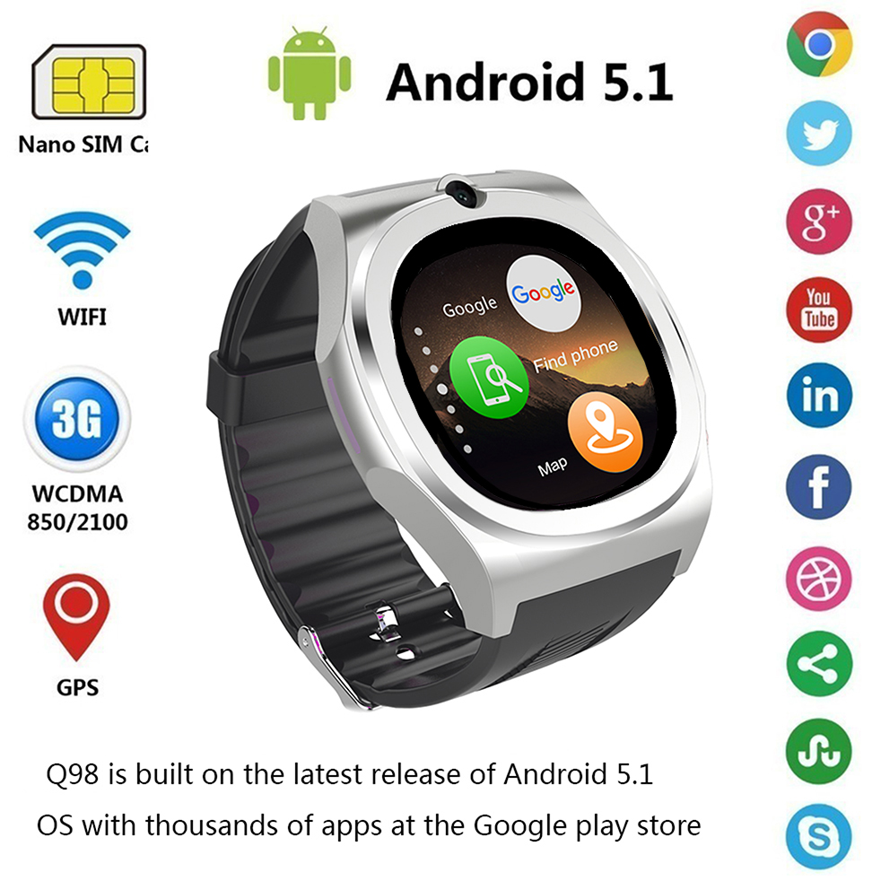 2017 New Smart watch Q98 MTk6580 Support SIM SD Card Bluetooth WIFI GPS SMS camera cell phone bracelet For iPhone & Android Man