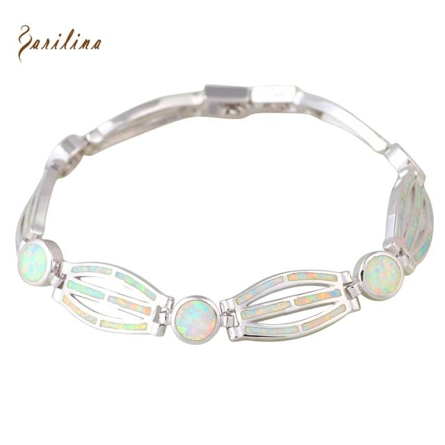 New Hot Popular womens Branco Opal de Fogo de Prata Pulseiras Pulseiras para meninas adolescentes pulseiras femininas 19 cm 7.48 polegada B469