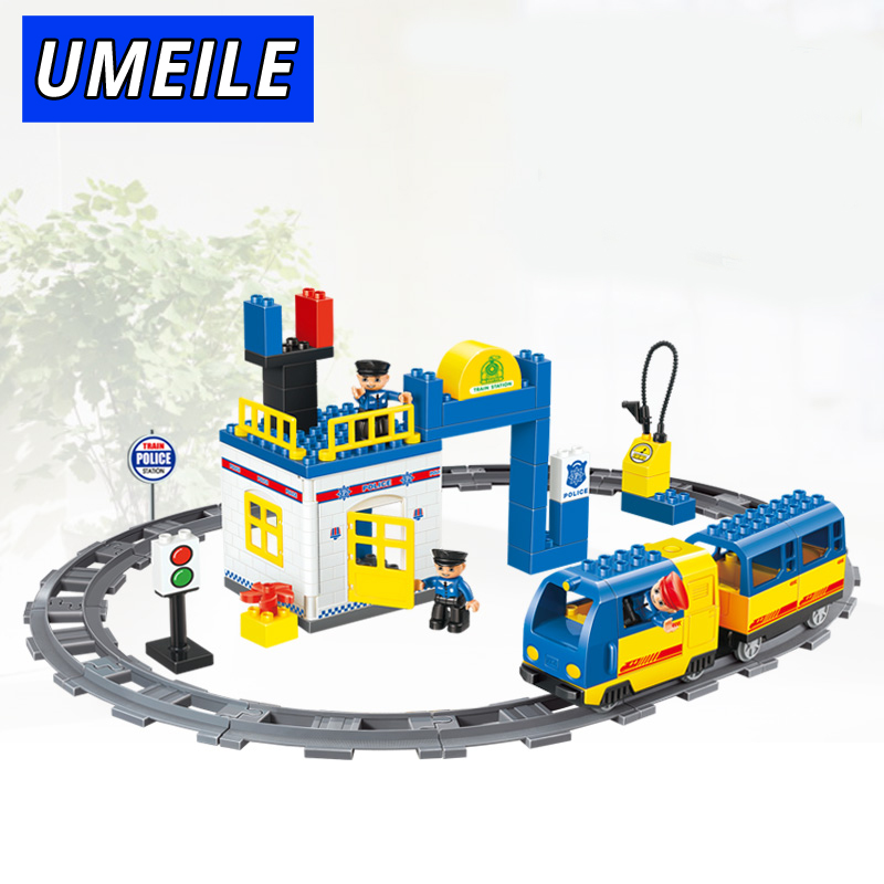 UMEILE Brand 59Pcs Original City Electric Train Track Policeman Block Set Brick Kids Toys Compatible With Duplo Christmas Gift on stock new super thomas small train electric track car boy puzzle large car racing for children s christmas gift kids toys