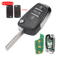 Keyecu 3pcs/lot DS Modified Folding Remote Key Fob 3 Button for Peugeot 307 433MHZ ID46 0523 Model HU83/VA2 Blade