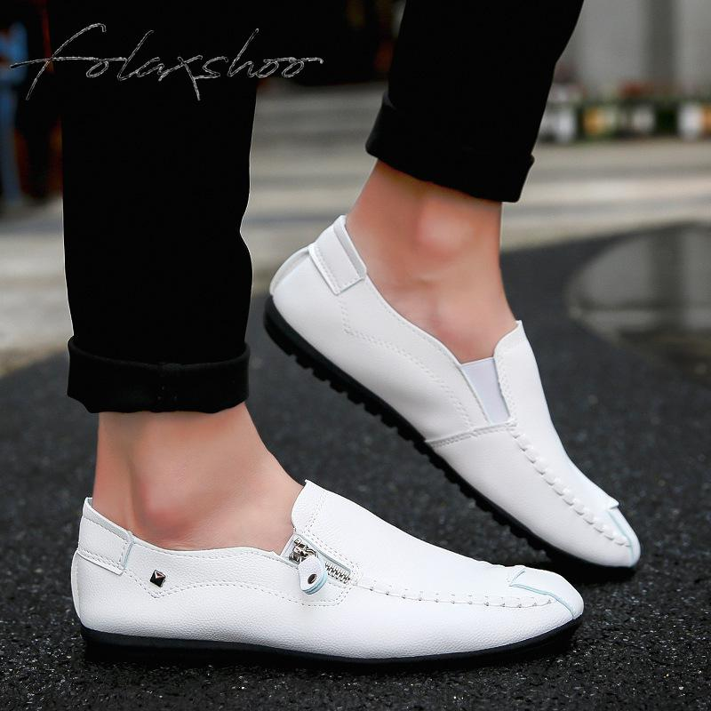 Folaxshoo Pu   Leather   Shoes Men Loafers Men Casual Breathable Mens Casual   Suede   Mens Designer Shoes Men Shoe Mocassim Masculino