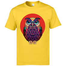 Colored Sunset Owl Printed T Shirts Summer New Tee Shirts Animal Decorate Vintage Tshirts Mens Funny T-Shirts Picture Cotton(China)