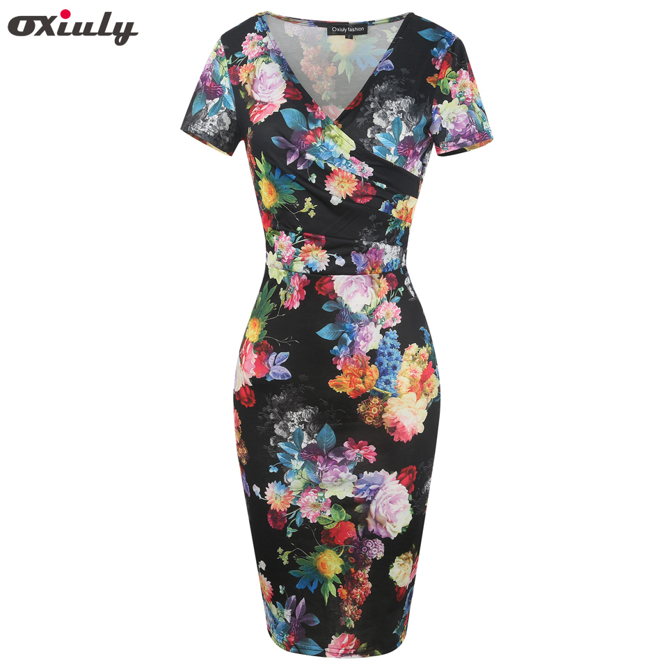 Oxiuly Women Bamboo Floral Stripe Print Ruffle V Neck Dress Short Sleeve  Knee Length Dresses Ladies Casual Sheath Dress Vestidos 72ec89fd2