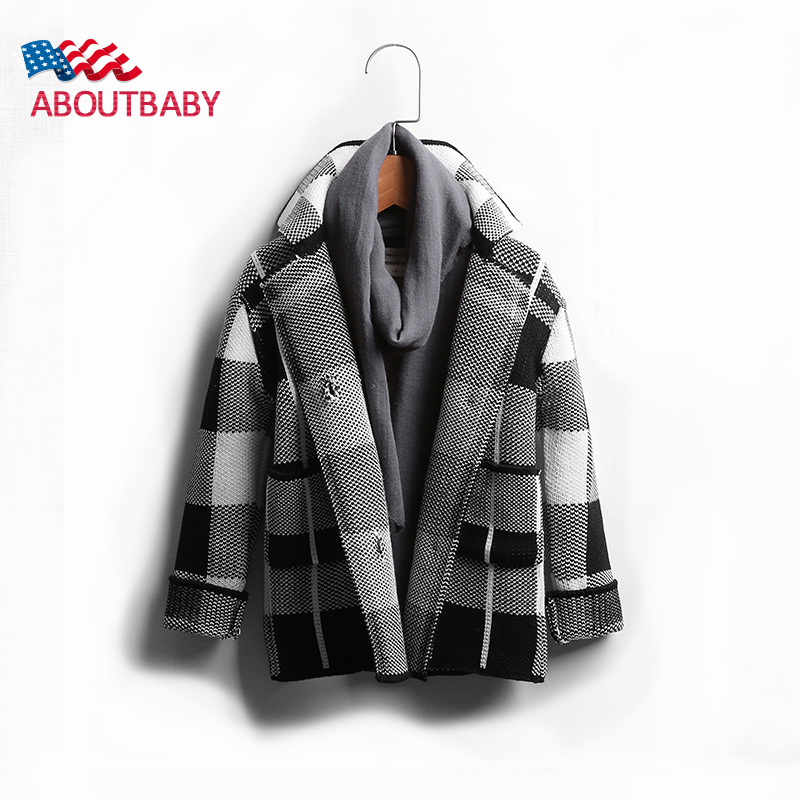 ФОТО Boys Winter Coat 2016 New Fashion Plaid clothes England Style Thicked Double-breasted Coats Boys Children Jackets