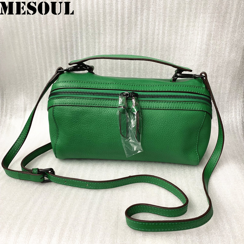 MESOUL Brand Crossbody Bags For Ladies Pillow Totes Fashion Portable Shoulder Bag Handbag Genuine Leather Women Messenger Bags
