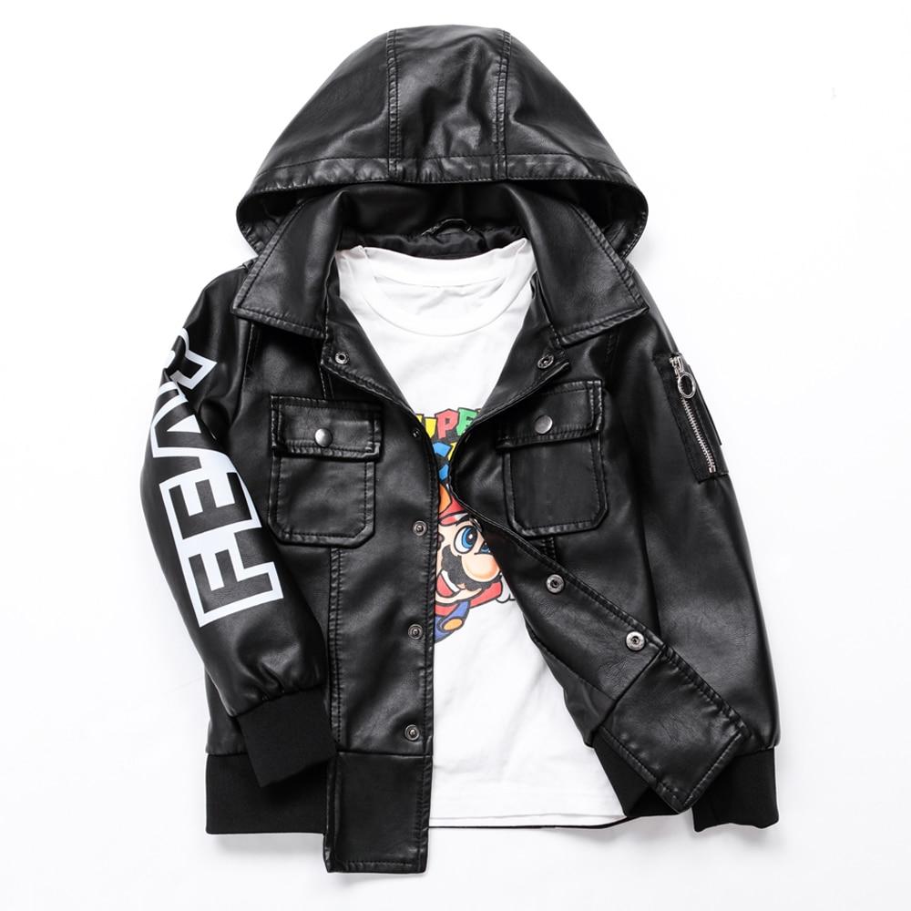 Осенняя кожаная куртка для мальчиков, детская кожаная куртка для мальчиков пальто из искусственной кожи Улучшенная одежда в стиле хип хоп для детей от 3 до 12 лет