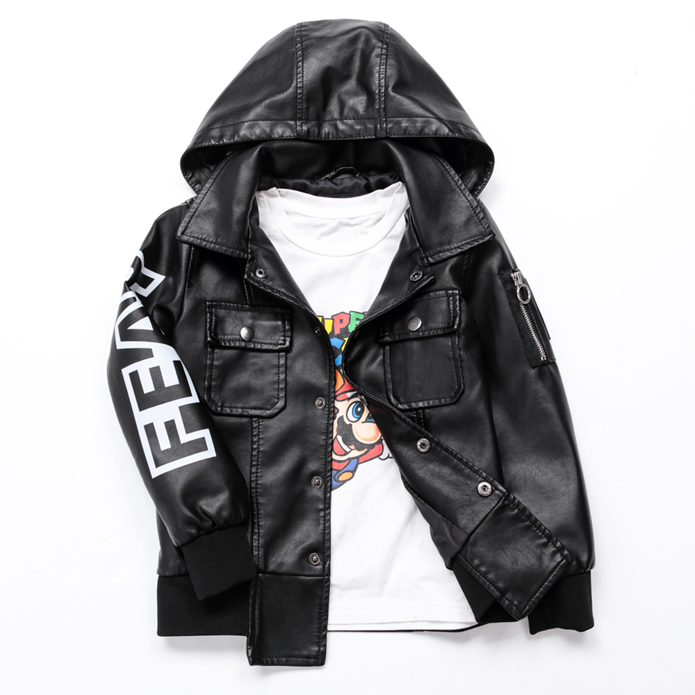 Autumn Boys Leather Jacket for Boys Kids Leather Jacket Advanced PU Imitation Leather Coat Hip Hop Children's Clothing 3-12 Yrs pu leather and corduroy spliced zip up down jacket