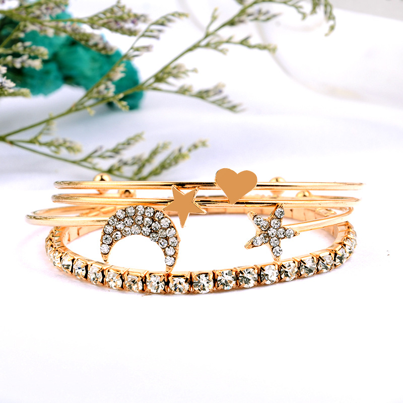 Moon and Star Fashion Bangle Set Love Heart Cuff Minimalist Style Rhinestone Bangle&Bracelet Jewelry for Women Gift