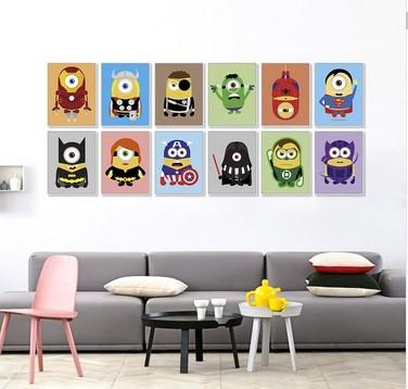 Миньоны Superheros Мстители Бэтмен Смешно Поп Аниме Фильм Постер Плакат Kawaii Уолл Аватар Холст Картины Детская Комната Декор