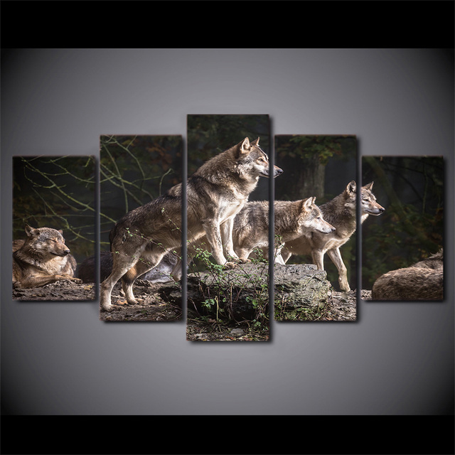 5 Pcs/Set HD Printed Animal Wolf Group Hunting Wall Poster Picture ...