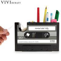 Vividcraft 1 CÁI Phụ Kiện Văn Phòng Vintage Cassette Kawaii Nhựa Bút Chủ Phụ Kiện Bàn Chủ Bút Chì Đồ Dùng Học Tập