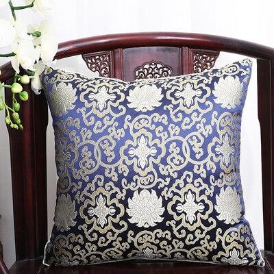 Чехол для подушки для автомобильного стула с цветами 40x40 см 45x45 см 50*50 60*60 китайские красочные диванные Декоративные Чехлы для подушек, шелковая атласная наволочка - Цвет: Темно-синий