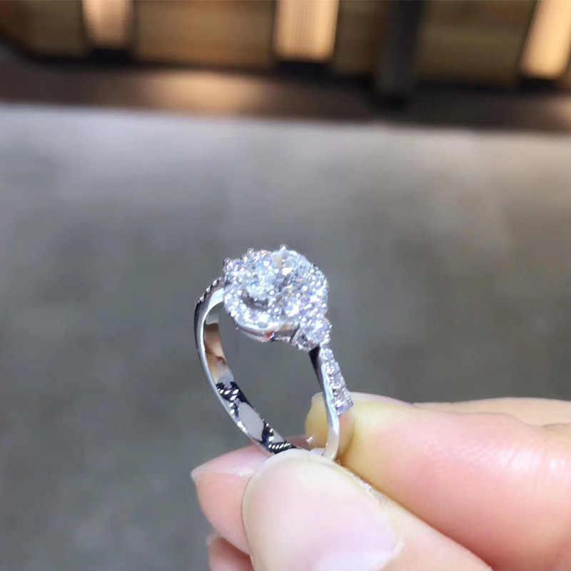ANI с металлическим ремешком регулируемой длины, из белого золота 18 карат (AU750) обручальное кольцо 0,948 CT GIA сертифицированное F/VS1 овальным вырезом настоящего натурального алмаза Для женщин обручальное кольцо с камнем