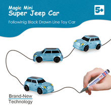 Magical Track Toys Mini Diecasts & Toy Vehicles Inductive Jeep Car Following by any Black Line You Draw Development Kid's Toys(China)