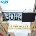 Mini LCD Termómetro Reloj Digital Del Carro Del Coche con Ventosa Adornos de automóviles Electrónico Duradero Car Styling 90x27x15mm