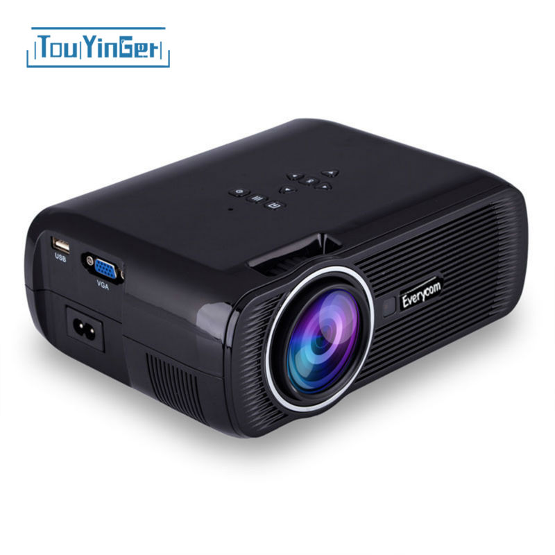 Everycom x7 portable mini projector hdmi lcd home theater beamer led overhead...