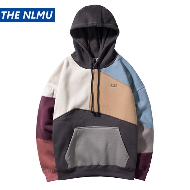 US $28 55 43% OFF|Color Block Patchwork Fleece Hoodies Mens 2018 Winter Hip  Hop Fashion Pullover Hooded Sweatshirts Men Hoodie Streetwear WS796-in